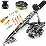 Sougayilang Telescopic Fishing Rod Reel Combos with Carbon Fiber Fishing Pole Spinning Reels and Fishing Accessories for Travel Ocean Saltwater Freshwater Fishing
