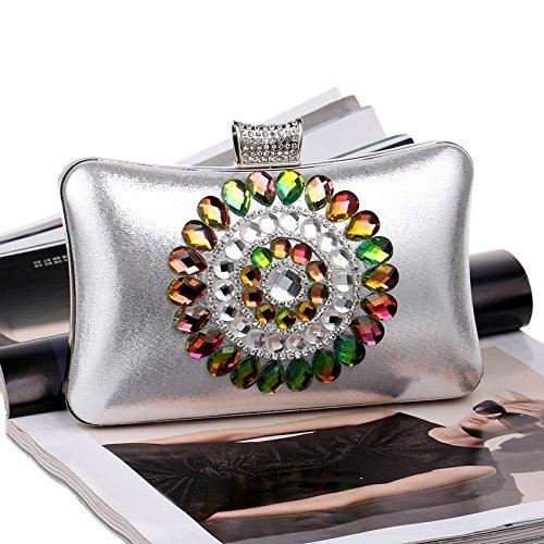 Dames Silver Pochette WenL Banquet De Paquet Diamant Luxe Soirée OxA8Y1qB