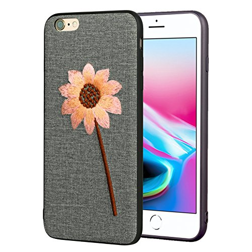 IPhone 6 Plus Case, 3D Embroidery Case for iPhone 6s Plus Case Shockproof Case Cute Full Cover Protective Light Weight Ultra Slim (Sunflowers)