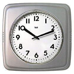 BAI Square Retro Wall Clock, 9.5, Satin Silver