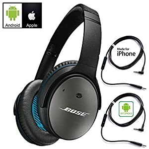 Bose QuietComfort 25 Acoustic Noise Cancelling Headphones for Android & Apple Devices – Black – Bundle