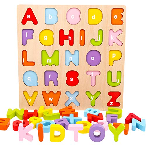 Alphabet Puzzle, WOOD CITY ABC Letter Puzzles for Toddlers1 2 3 Years Old, Educational Learning Toys for Toddlers, Alphabet Toys with Puzzle Board & Letter Blocks, Best Gifts for Girls and Boys (French Alphabet Blocks)