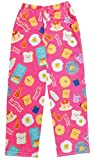 iscream Big Girls Fun Print Silky Soft Plush Pants - Breakfast Club, Medium