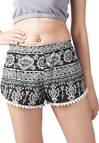 Lofbaz Pantaloncini Design Nero con stampa Donna estivi 1 ww8FPaq