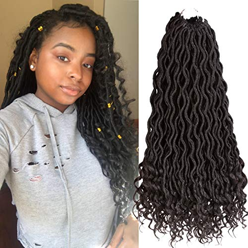 Karida 6Pcs/Lot Curly Goddess Faux Locs Crochet Hair Deep Wave Braiding Hair With Curly Ends Crochet Goddess Locs Synthetic Braids Hair Extensions (18inch, 1B#)