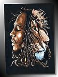 DRAPEAU BOB MARLEY ONE LOVE- TENTURE RASTA - JAMAÏQUE - REGGAE - ROOTS - RASTAFARI '' TBG EVASION - FRANCE ''