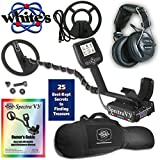 "Whites Spectra V3i Metal Detector with Headphones, 10"" DD &  9"" Concentric Coil and Gun Style Carry Bag"