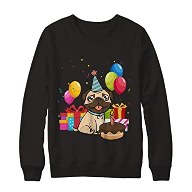 94d29658 Teely Shop Women's Woman's Kids Cute One Happy Birthday Pug T Shirt Gildan  - Pullover Sweatshirt