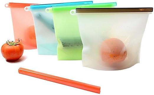 Aolvo - Bolsas de silicona para conservar alimentos, 4 unidades ...
