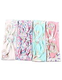 4 Pcs Baby Girls Elastic Turban Headbands Head Wrap Rabbit Ear Hair Band