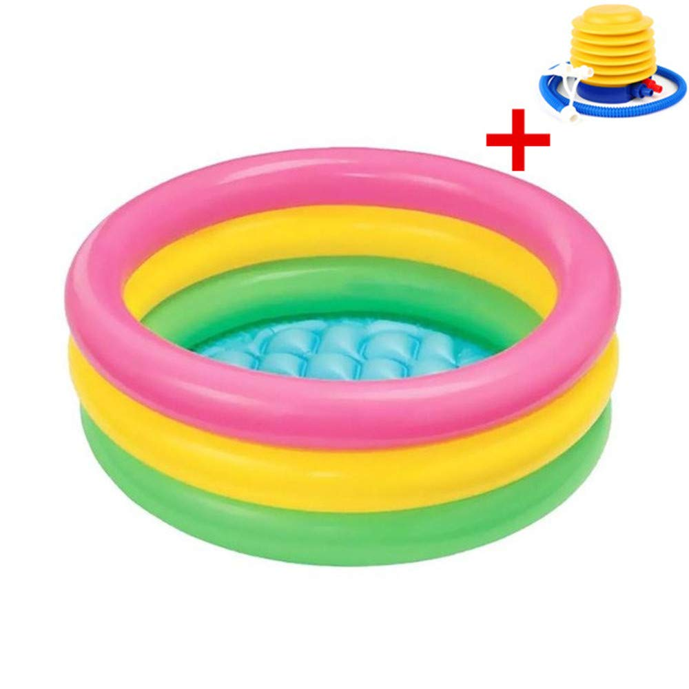 Baby Kids Pool, Techcode Three Layers Three Color Baby Toddler Kids Childs Family Inflatable Pool Paddling Swimming Pool Inflatable Bathtub Garden Paddling Pool with Inflator Pump 3410 inch