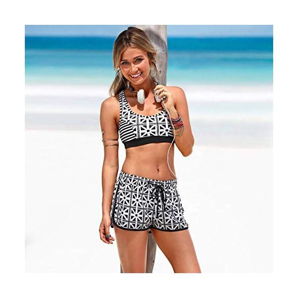 Costume Donna Due Pezzi - Bikini - Top - Shorts - Mare - da Bagno - Sport - Sportivo - Coordinato - Ragazza - Righe… 2 spesavip