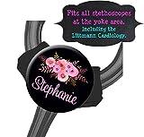 Yoke Stethoscope Tag - Pink Floral Black Bkgd - Steth ID Tag/Nurse ID/Littmann/Medical Gift/Student Nurse