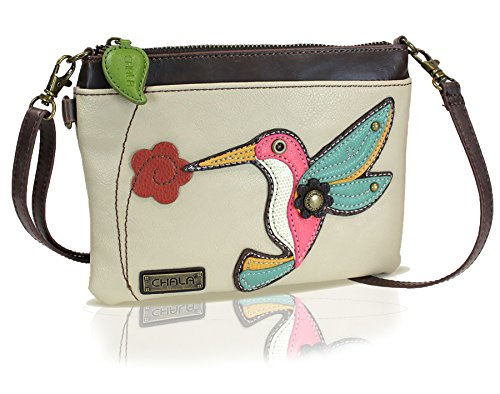 Chala Mini Crossbody Handbag, Multi Zipper, Pu Leather, Small Shoulder Purse Adjustable Strap - Hummingbird - - Leather Shoulder Bag Epi