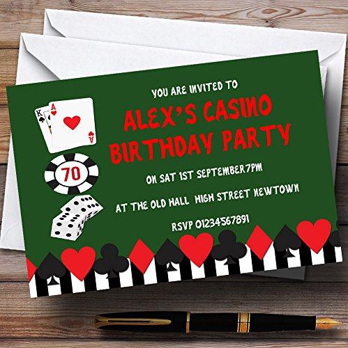 Green Casino Theme Personalized Birthday Party Invitations ()