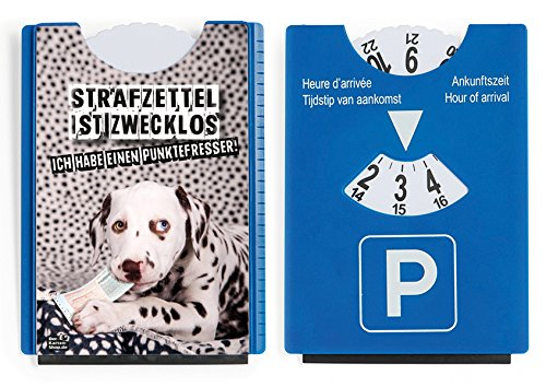 Fun Spaß Motiv Parkscheibe mit Eiskratzer und Gummilippe Dalmatiner 'Strafzettel ist zwecklos, ich habe einen Punktefresser!' ich habe einen Punktefresser! Der-Karten-Shop.de