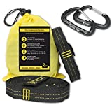 Golden Eagle SUMMER SALE Hammock Loop Tree Hanging Straps Set XL Pro with 2 alucarabiners- 100% No Stretch Camping Suspension System Kit Heavy Duty - 23 Loops Each. Length - 118 in