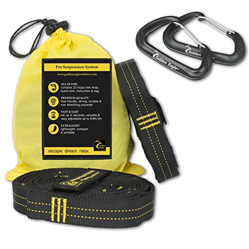 Length Suspension - Golden Eagle SUMMER SALE Hammock Loop Tree Hanging Straps Set XL Pro with 2 alucarabiners- 100% No Stretch Camping Suspension System Kit Heavy Duty - 23 Loops Each. Length - 118 in