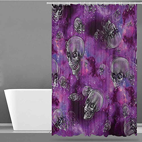 Womens Shower Curtain,Skull Horror Movie Thirller Themed Flying Skull Heads Halloween in Outer Space Image,Bathroom Decoration,W72x84L Black and -