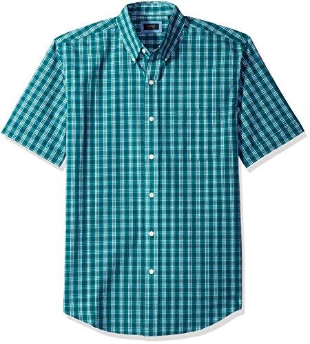 Arrow Men's Big and Tall Hamilton Poplin Short Sleeve Button Down Shirt, Quetzel Green, X-Large