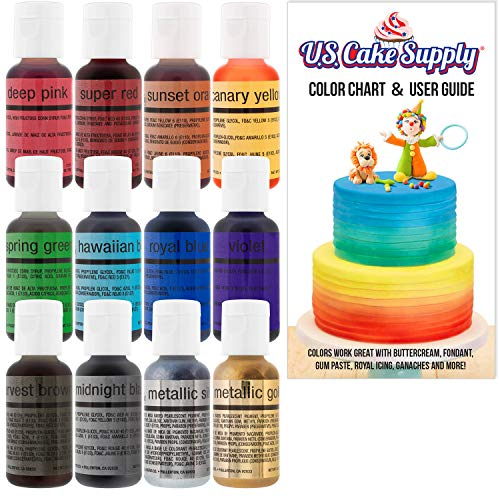 U.S. Cake Supply by Chefmaster Airbrush Cake Color Set - The 12 Most Popular Colors in 0.7 fl. oz. (20ml) Bottles]()