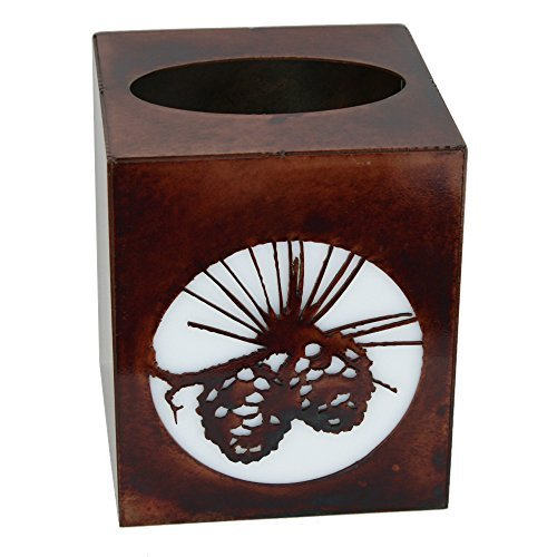 Decorative Rustic Finish Small Tissue Box Cover - Pine Cones
