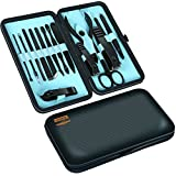 Professional Manicure Pedicure Set Nail Clippers Kit - Stainless Steel 15 in 1 Portable Travel Grooming Kit - Facial, Cuticle and Nail Care for Men and Women - by Utopia Care