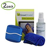 GreatShield (2 Pack) LCD LED Screen Cleaning Kit with Microfiber Cloth, Cleaning Brush and Non-Streak Cleaner Solution for TV, PC Laptop Computer Monitor, Camera Lens, Smartphone, Tablet, iPad iPhone