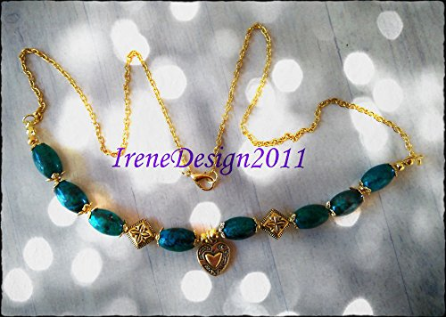 Gold Necklace with Chrysocolla & Heart