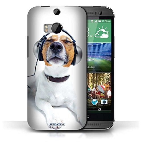 Coque en plastique pour HTC One/1 M8 Collection Animaux comiques - Chien avec casque