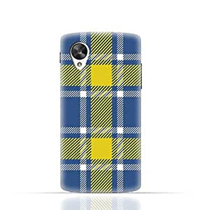 LG Nexus 5 TPU Silicone Case with Blue and Yellow Plaid Fabric Design