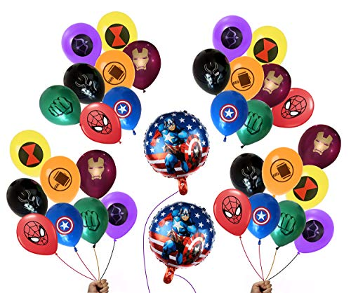 FAT CAT SALES 34 Superhero Party Balloon Bundle (32 Latex-8 different patterns & 2 Foil) Large 12