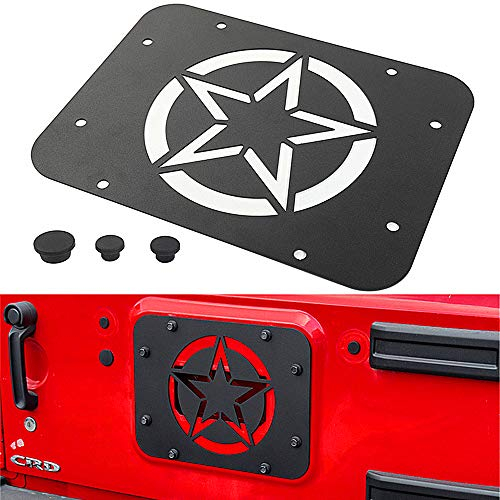 (YOCTM for Jeep Wrangler JK JKU Tailgate Spare Tire Delete Plate 2007-2018 Blank Plate Tramp Stamp (Five-Pointed Star) Parts Accessories Car Styling)