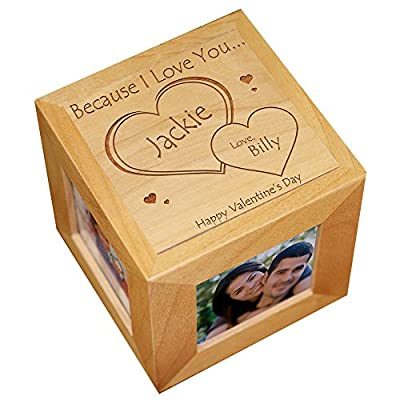 Engraved Because I Love You Photo Cube, Wood
