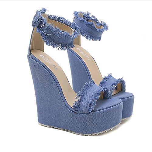 fibbia Open Scarpe Scarpe da Casual per denim zeppa bordi da sera donna Club abito con toe con sandali Denim Casual Sandali sera in da Estate Blue GAOLIXIA e rXTzPqX