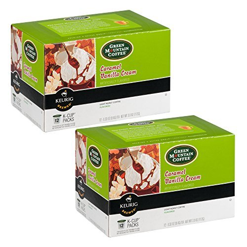 Green Mountain Coffee K-Cup, Caramel Vanilla Cream, 12-count (2 Boxes, 24 K-Cups Total) (Green Mountain Caramel Vanilla Cream K Cups)