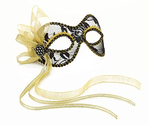 Forum Novelties Women's Ribbon Lace Venetian Mask, Black/Gold, One Size