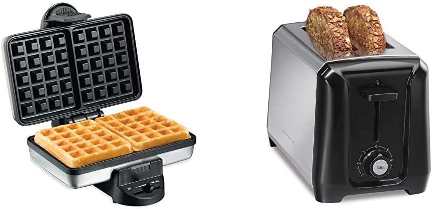 Hamilton Beach 2-Slice Non-Stick Belgian Waffle Maker & Stainless Steel 2 Slice Extra Wide Toaster with Shade Selector, Toast Boost, Slide-Out Crumb Tray, Auto-Shutoff and Cancel Button, Black (22671)