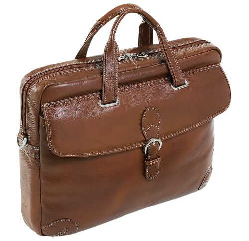 Siamod 45534 Como Napa Cashmere Leather Medium Laptop Brief (Cognac)