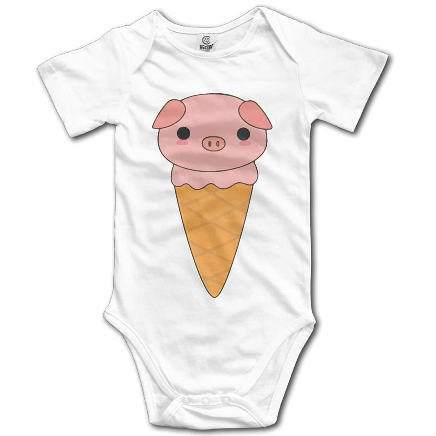 Frouren Kawaii Cute Pig Ice Cream Unisex Short Sleeve Bodysuit