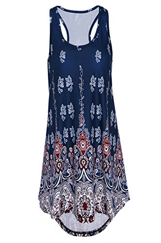 DREAGAL Women's Ethnic Suede Sleeveless Boho Printed Asymmetrical Loose Fit Tunic Tank Tops (Hi Neck Tank)