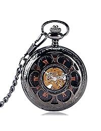 Luxury Pocket Watch, Hollow Flower Steampunk Pocket Watch for Men, Black Mechanical Hand Winding Men Pocket Watch Gift - WuHu Ren Store