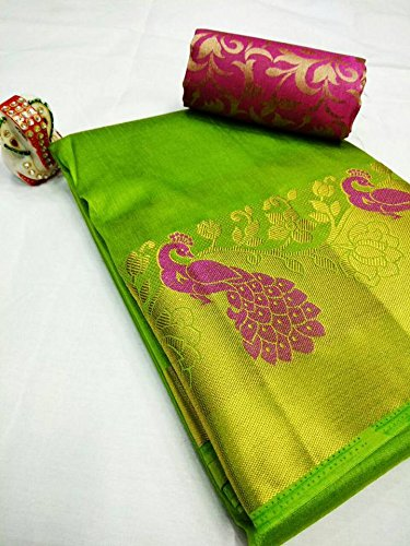 fe7e6f9630722d Beautiful Green with Pink Contrast Rajasthani Peacock on Plain Tussar Silk  Saree With Double Blouse  Amazon.in  Clothing   Accessories
