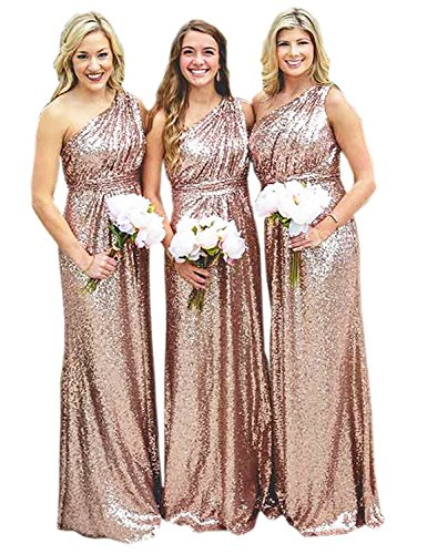 Belle House Women's One Shoulder Sequins Prom Dresses 2017 Long Bridesmaid Rose Gold Mermaid Evening Gown Vintage Greek