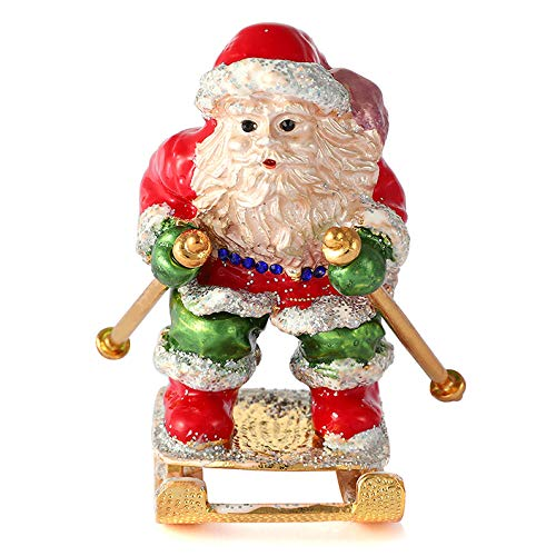 QIFU Vintage Style Hand Painted Santa Claus Shape Jewelry Trinket Box with Rich Enamel and Sparkling Rhinestones | Unique Gift Home Decor | Best Ornament Your Collection