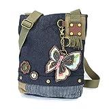 Chala Patch Cross-Body Women Handbag, Blue Denim Canvas Messenger Bag - New Butterfly - Denim