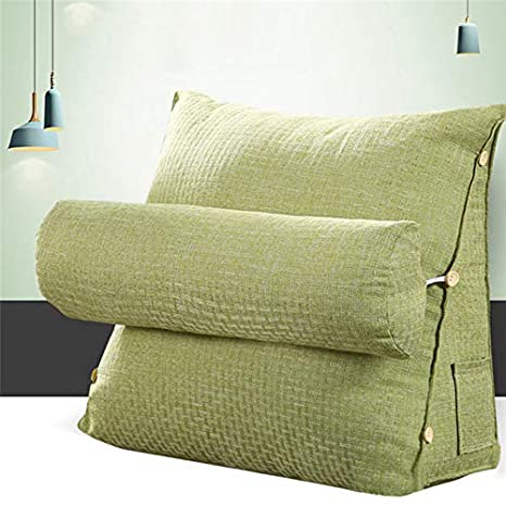 Sofa Bed Office Chair Rest Cotton Cushion Reading Throw Pillow Neck Support Green BELUPAI Triangle Back Wedge Cushion Pillow