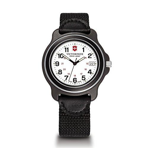 Victorinox Men's 249087 Original XL Analog Display Swiss Quartz Black Watch (White Dial/Black Bezel)