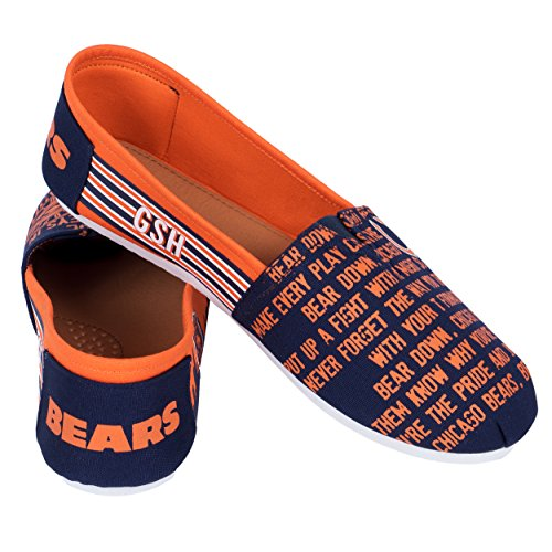 FOCO NFL Womens SMU Thematic Womens Canvas Shoe: Chicago Bears, Medium