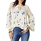 Lucky Brand Women's Floral Lace Mix Peasant Top Natural Multi Medium